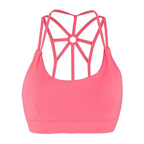 DODOING Damen Sport BH Gepolstert Elastizität Bustier Yoga BH Ohne Bügel Comfort Atmungsaktiv Sports Bra Top Rosa