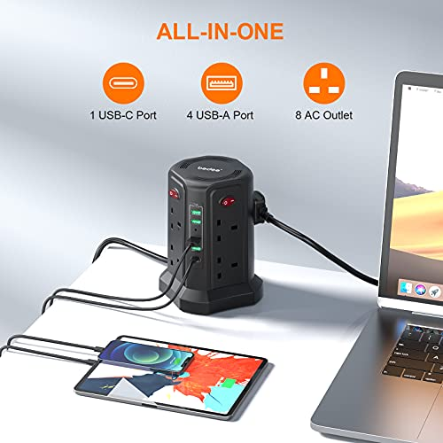 Tower Extension Lead 5M, bedee Plug Extension with 5 USB Slots (1 USB C /18W Fast Charging) and 8 Outlets, Surge Protector Power Strip Tower for TV PC Laptops iPhones with 5M Extension Cord, Black