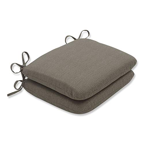 Pillow Perfect Indoor/Outdoor Taupe Textured Solid Round Seat Cushion, 2-Pack