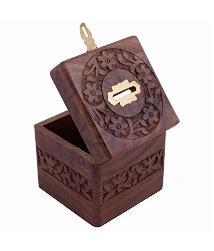 xmas present, Wooden Coins Storage Box, Money Bank & Carving Work & Lock, Kids Coin Bank, Money Banks For Kids / Adults / Girls, Brown Color Size 4.5 X 3 Inch Photo #4
