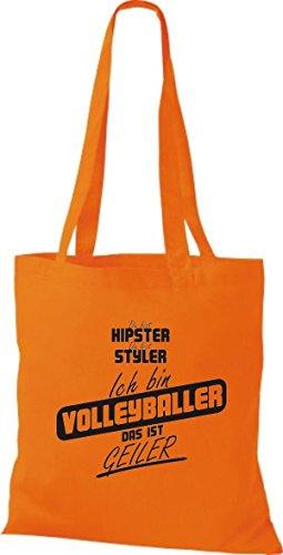 Shirtstown Stoffbeutel du bist hipster du bist styler ich bin Volleyballer das ist geiler orange hUIGiZ9aBT