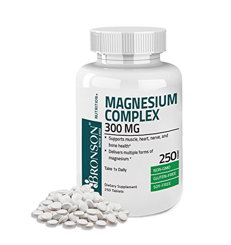 Bronson Magnesium Complex Maximum Coverage 300 Mg, Non-GMO, Gluten Free and Soy Free Formula, 250 Tablets