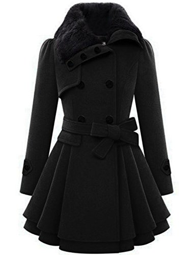 Zeagoo WoMens Fashion Faux Fur Lapel Double-breasted Thick Wool Trench Coat Jacket,Black,XX-Large