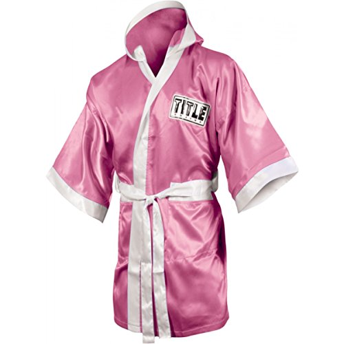 TITLE Boxing Full Length Stock Satin Robe, Pink/White, Medium