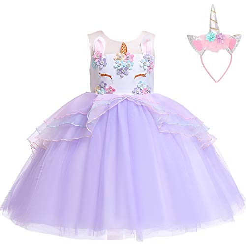 Flower Girls Unicorn Costume Pageant Princess Party Dress with Headband for Girls 2-12 Years(Purple,Age:3-4 Years -