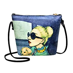 Casual Women Leather Satchel Shoulder Bags Ladies Sling Crossbody Messenger Bags Features: Floral Print Pattern. Shoulder strap can be adjusted. Specification: Material: PU Type: Square Glasses Blue Size: 210x170x60mm/8.27x6.69x2.36in, Should...