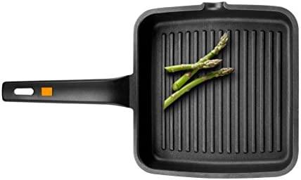 BRA A271422 Efficient - Grill asador con rayas, aluminio fundido con antiadherente Teflon Platinum Plus, apto para todo tipo de cocinas incluido ...