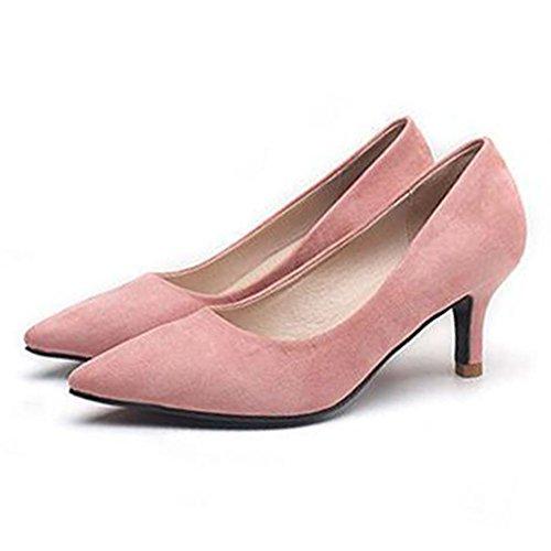 Rose Soiree Pointus Club Escarpins Classique Sexy Bureau Chaussures Daim Femme Petit Talon à en Chaussures w7qgn64