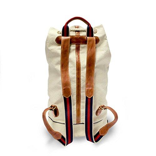 DRAKENSBERG Eastport Duffel Back Pack, Seesack, Rucksack, Segeltasche, Canvas, Italienisches Leder, Vintage, Preppy, Alt-Weiss, Cognac-Braun, gestreift