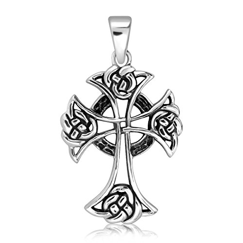Oxidized Celtic Cross Pendant - WithLoveSilver 925 Sterling Silver Oxidized Celtic Cross Pendant
