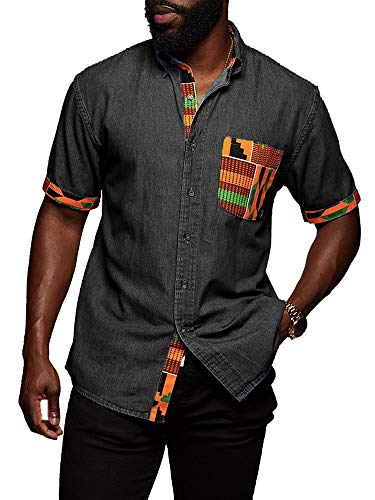 Mens Short Sleeve African Shirt Chambray Denim Tribal Dashiki Buttoned Down Collar Casual Shirts