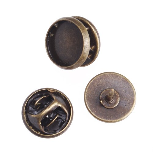 (50 Piece Antique Bronze Plated Copper Cameo Brooch Back, Tie Tac Clutch with 10mm Round Bezel Cup)