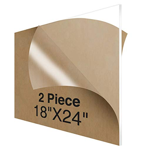 NIUBEE Acrylic Plexiglass Sheet 18x24 Inches (2 Piece),1/8 Inch Thick Clear Plastic Perspex Plate Panel ()
