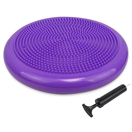Trideer Inflated Stability Wobble Cushion with Pump, Extra Thick Core Balance Disc, Kids Wiggle Seat, Sensory Cushion for Elementary School Chair (Office & Home & Classroom) (34cm New Purple)