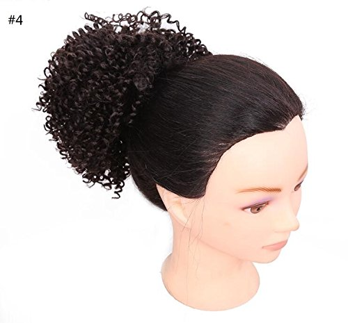 Afro Fluffy Synthetic Kinky Curly Hair Bun Extension Donut Chignon Puff Hair Drawstring Short Ponytail Hairpieces Scrunchie Wig Updo with Two Clips for African American Black Women (8INCH, 4) by Reyen