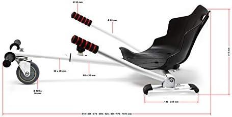 WilTec Siège de Scooter en Noir Siège de Kart Ajustable pour Adulte et Enfants Elektroscooter 120 kg Max.