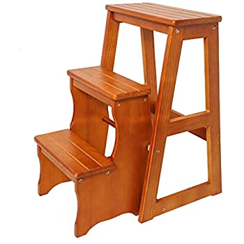 Amazon Com Folding Wooden Step Stool 3 Tiers Portable