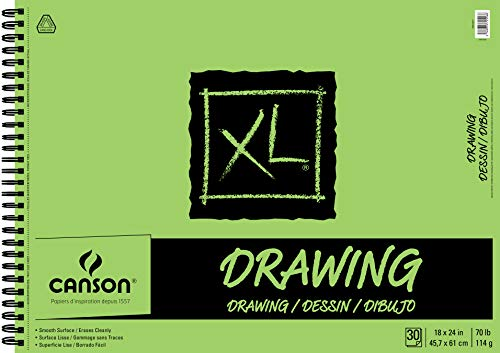 Canson XL Series Drawing Paper Pad, Micro Perforated, Smooth Surface, Side Wire Bound, 70 Pound, 18 x 24 Inch, 30 Sheets