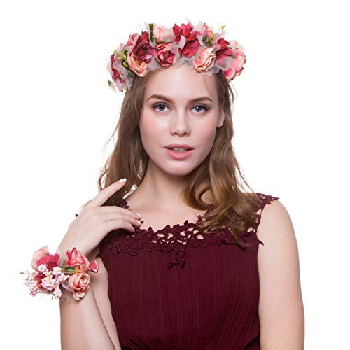 Women Flower Headband Wreath Flower Crown Floral Wedding Garland Festivals Photo Props