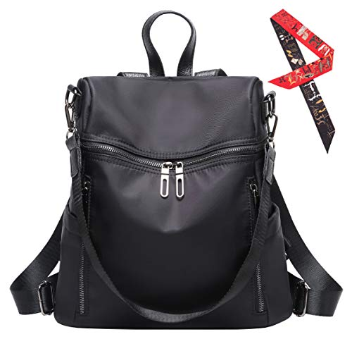 Womens Lightweight Designer Backpack Shoulder Handbags - Waterproof Nylon Convertible Rucksack black/04