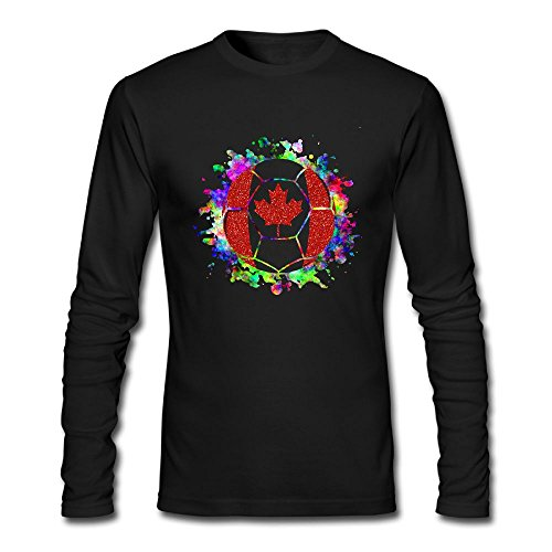 Men's Canada Paint Splatter Flag Soccer Ball Long Sleeve Athletic Cotton Crew Neck - Versace Clothing Canada