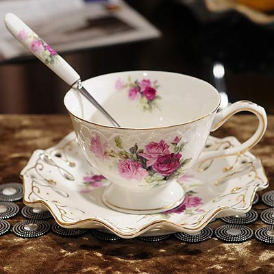   Coffee Cups & Mugs   Ontinental European Tea Set Ceramic Coffee Cup Suit British Style High-Grade Bone China Coffee Cup And Saucer With A Spoon   by AQANATURE   1 PCs