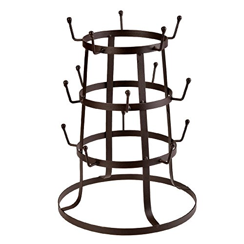 Anfan Steel Mug Tree Holder Organizer Rack Stand ,Brown Iron Mug/Cup/Glass Bottle Organizer Tree Drying Rack Stand