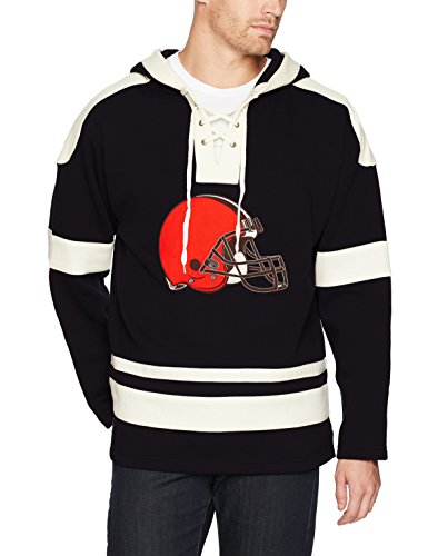 NFL Cleveland Browns Men's OTS Grant Lace Up Pullover Hoodie, Jet Black, Small