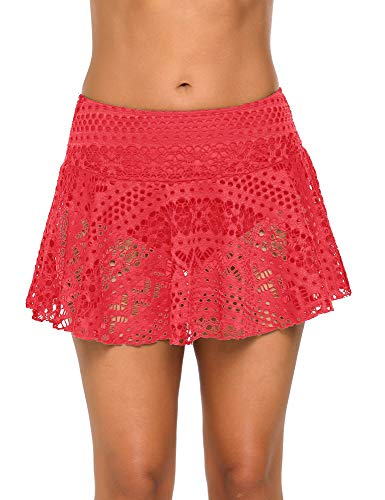 GRAPENT Women's Crochet Lace Skirted Bikini Bottom with Brief Solid Coral Short Swim Skirt Swimsuit Size L 12 - Coral Skirt Suit