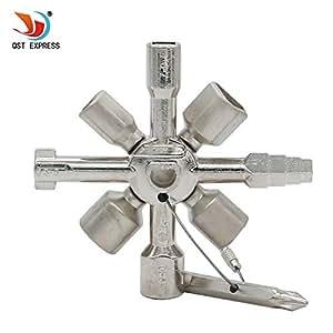 QST-CAIDU Multifunctional Twin Key Universal Control Cabinet Key Torque Wrenches Cross Key with 1 Chain 10 Profiles CNC Key Train Door Key,Chrome