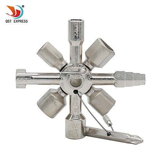 QST-CAIDU Multifunctional Twin Key Universal Control Cabinet Key Torque Wrenches Cross Key with 1 Chain 10 Profiles CNC Key Train Door (Universal Keys)