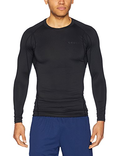 TSLA TM-MUD11-KLB_Small Men's Long Sleeve T-Shirt Baselayer Cool Dry Compression Top ()