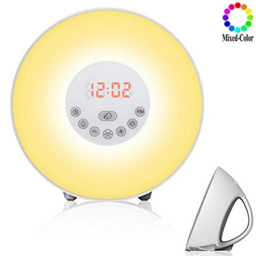 EletecPro Upgraded Alarm Clock with 6 Colors Wake Up Light, FM Radio Simulation Sunrise Sunset Snooze Function, Colorful Atmosphere Lamp, 10 Brightness of Warm White Bedside Lamp with 7 Natural Sounds