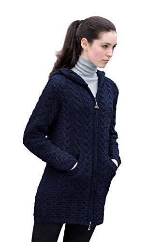 Irish Merino Wool Ladies Hooded Aran Zip Sweater Coat (Navy, X-Small)
