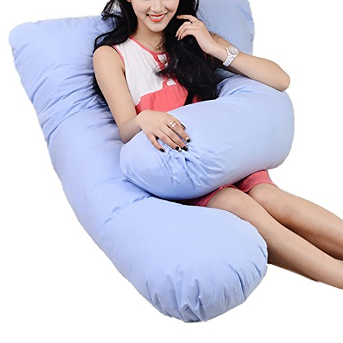 Nunubee Cotone L-Shaped Pregnancy Pillows Rest Full Body Maternity Pillow for Side Sleeping Cushions Support Cushion 41.3X25.6X4.7 Inch Blue