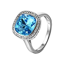 Xuping 2017 Black Friday Intimacy Lover Round Rings Fashion Crystals from Swarovski Women Rings Jewelry Birthday Christmas Gifts (Aquamarine, 8)