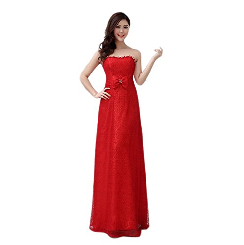 VogueZone009 Womens Strapless Lace Formal Dresses with Bowknot and Rhinestones, Red, 16 by VogueZone009
