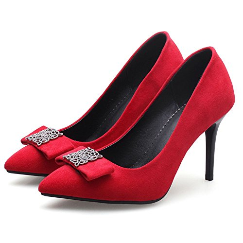 Party Spike DecoStain 2Red Work Dress Shoes High Fashion Womens Pointed Pumps Toe Heel wrzr1I