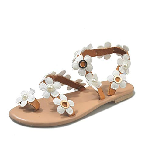 Mayou Women's Flat Gladiator Sandals, Bohemia Toe Ring Flip Flops with Beaded Pearl Daisy Flower Beach Casual for Wedding Summer Beach Oceanside Holiday Outdoor (9.5-10 M US, White)
