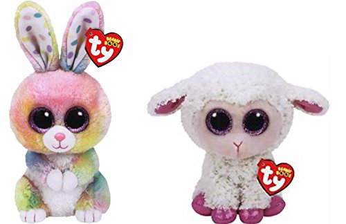 2017-Set-Of-2-EASTER-Twinkle-Lamb-and-Bubby-Bunny-6-Plush-Ty-Beanie-Boos-Toy