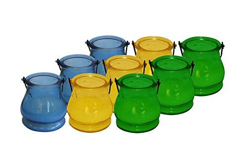 Patio Essentials Citronella Glass Lantern with Handle, 9 Pack Citronella Candle Lantern