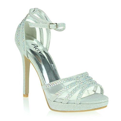 Mujer Señoras Dos Partes Punta Abierta Correa de Tobillo Plataforma Diamante Delgado Tacón Alto Noche Fiesta Boda Prom Nupcial Sandalias Zapatos Talla Plata.