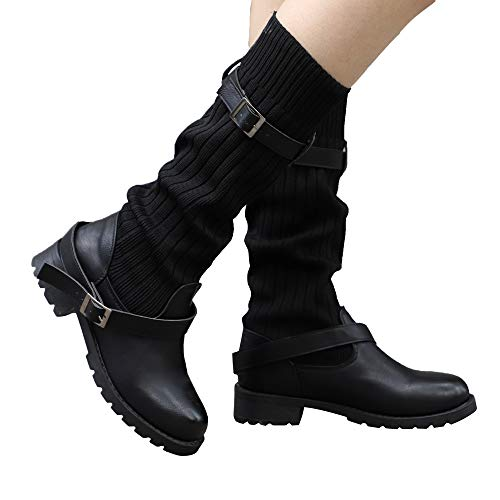 Fashion Retro Rivets Thick Ankle Zip Long Tube Boots Round Shoes,B,6,