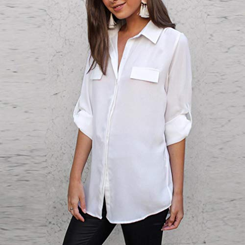 ☀ ☀️PANPANYshirt Mujer ModaPANY Manga Larga Botón Loose Casual Blusa Camisa Tops Ajuste Moderno, Estampada Mujeres Camiseta con Manga Larga de Gasa con ...