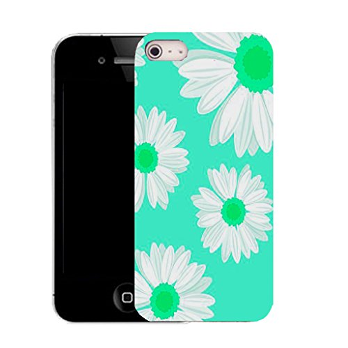 Mobile Case Mate IPhone 4s clip on Silicone Coque couverture case cover Pare-chocs + STYLET - aqua daisy pattern (SILICON)