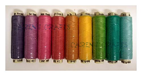 Sue Spargo Ellana Wool Blend Thread for Embroidery - Nine 70-Yard Spools, Matches The ''House'' Colorway 3 Wool Applique Pack by Sue Spargo