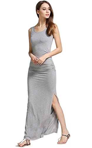 Women's Long Maxi Casual Cotton Beach Dresses Sides Shirring Slit Shirt Party Dress Gray S