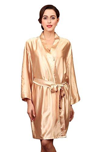 Sipaya Satin Kimono Robes Silk Bathrobe Cozy Sleepwear Luxury Gold Champagne