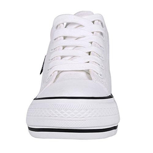 Shevalues dolda Häl Wedge Sneakers Mode Spets Upp Tygskor För Kvinnor Vita