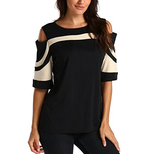 houlder Long Sleeve Sweatshirt Pullover Tops Blouse Shirt(Beige,US:4/CN:S) ()